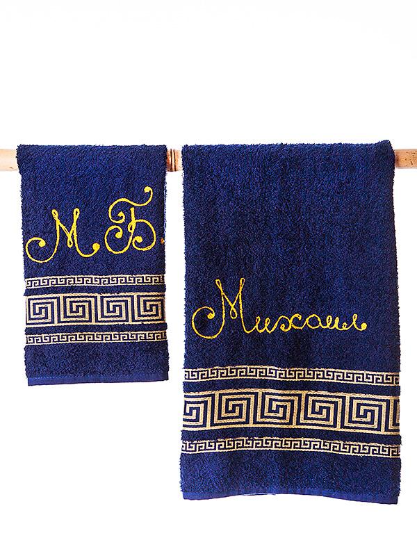 Набор банных полотенец Бабушкин Узор, сине-золотой