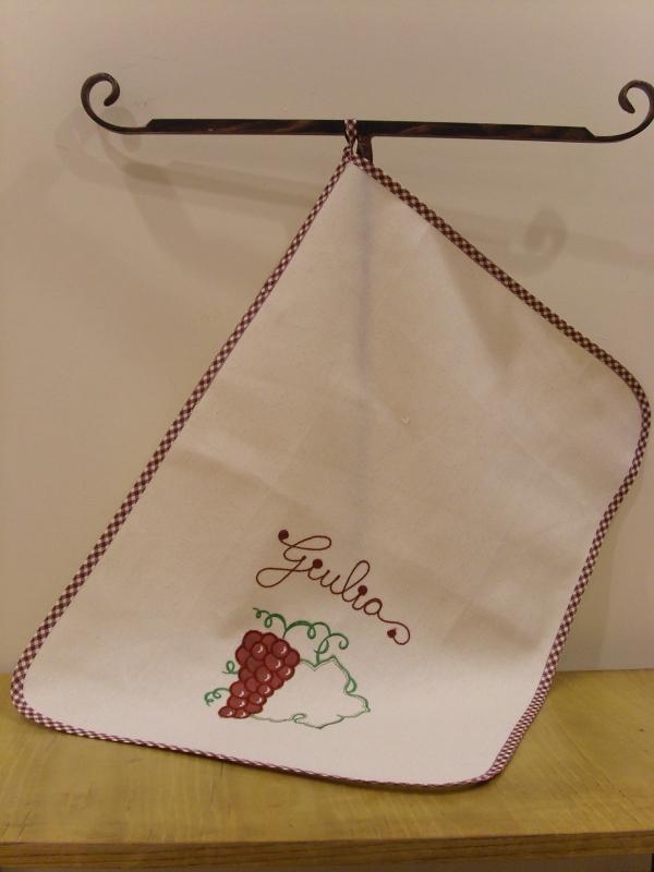 Полотенце хлопковое кухонное с вышивкой, бордовое Бабушкин Узор