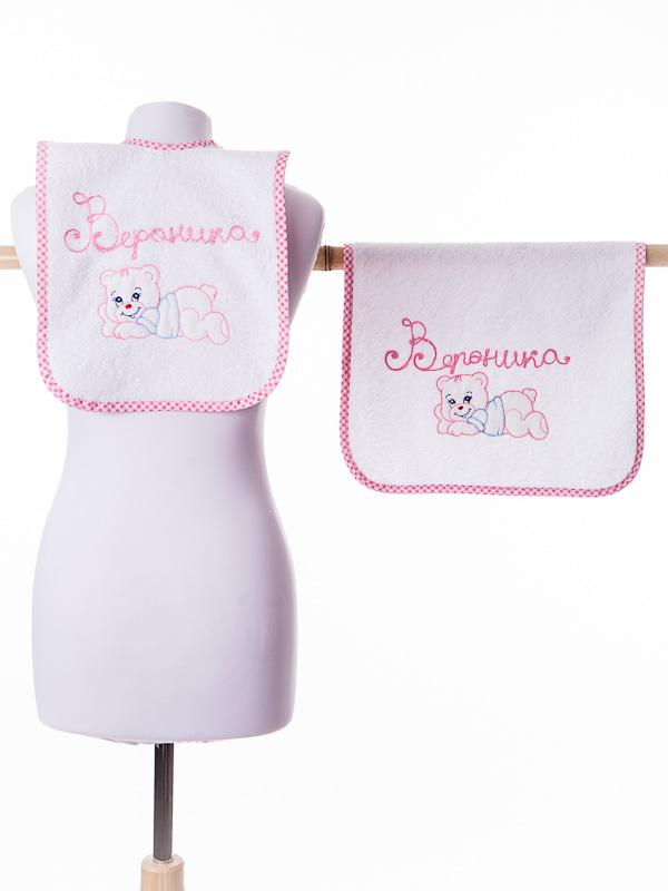 Набор: слюнявчик полотенце с вышивкой, розовый Бабушкин Узор