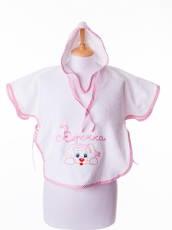 Детское полотенце пончо  с капюшоном Бабушкин Узор, большое, розовое