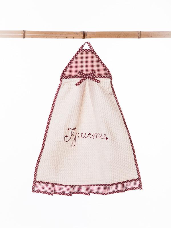 Полотенце кухонное вафельное призма, бордовое Бабушкин Узор