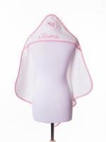 Полотенце с капюшоном и вышивкой Бабушкин Узор, розовое