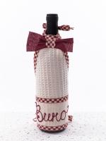 Салфетка для бутылки (вина), бордовая Бабушкин Узор